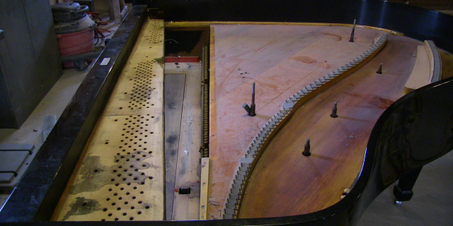 Grand Piano Plate Removed for Rebuilding